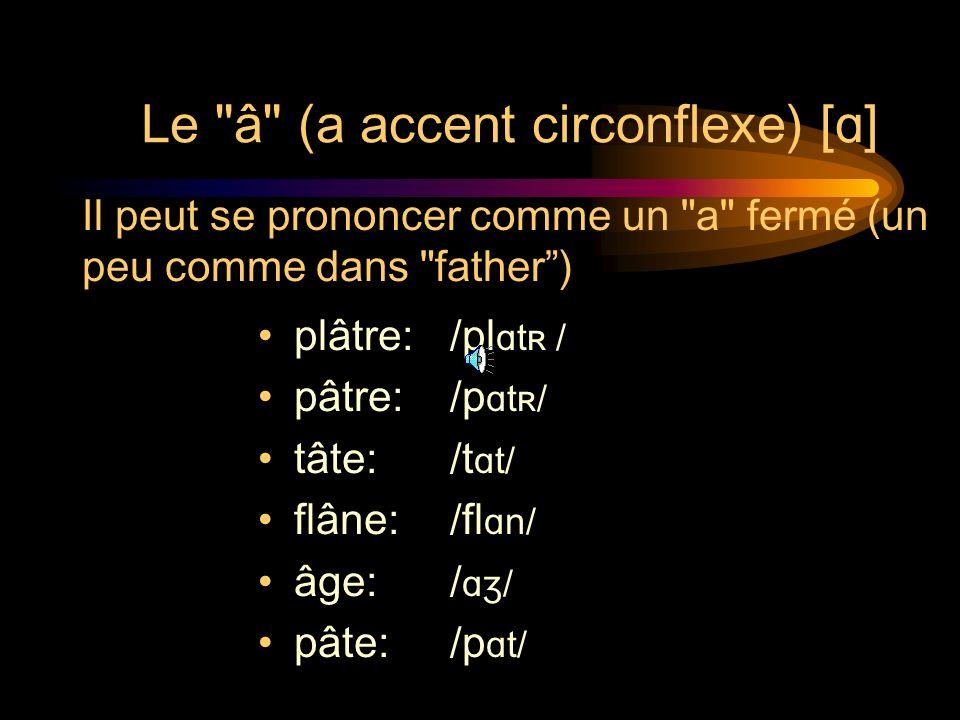 Le â (a accent circonflexe) [ɑ]